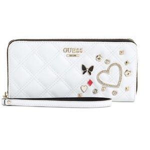 GUESS Darin Large Zip Around Wallet White